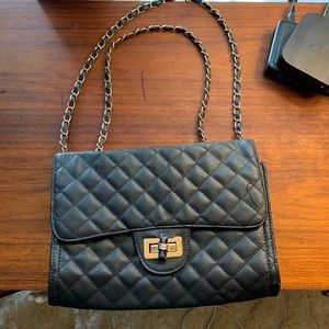 Black quilted purse with gold chain
